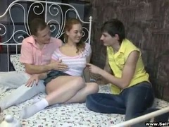 Cute breasty brunette cuckolds her man as he watches