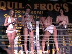 Horny college babes stripping and seducing dudes in hawt club