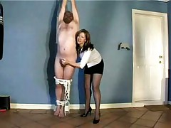 Milf suspends and ties her husband torturing his shlong - raunchy homemade porn video stolen by neighbors!