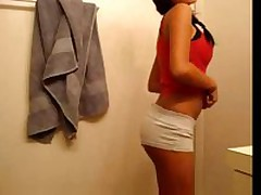 Brunette legal age teenager with great love muffins filming herself stripping
