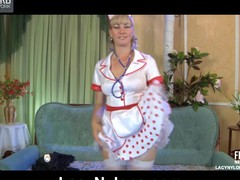 White-stockinged nurse undresses bare to try on gorgeous black lacy nylons