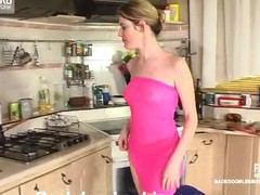 Slutty lesbian sweetheart getting rubber dick up her poop chute right in the kitchen