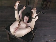 Alana is a cute bitch that can't live without being treated like a piece of meat. The executor tied her up in a very uncomfortable position, gagged her mouth with tape so she won't shriek and now he's drilling her pussy. He goes deep in her bald vagina and that's just for the warm up. Curious what's next?