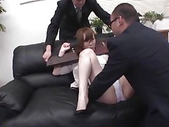 Now here's a concept that works! A horny asian milf secured with a servitude device appears to be not agree what's going to happen with her big booty. But after the man cuts her panties with scissors and inserts his finger in her tight shaved asshole she suddenly begins moaning and enjoys the treatment.