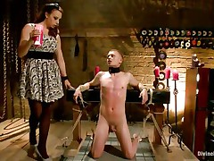 Micah Andrews is fastened up so that guy can't move during the time that mistress Chanel Preston trickle hot candle wax all over his body. This babe trickle the wax on his chest, tongue, and dong and balls. After choking him until that guy gasps for air, that babe whips his petite dong red.