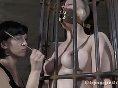 Yep bitch, u deserve this punishment. U thought that everything needs to be your way and always had lack of respect. Let's see u in that cage how punk u are now. It's a bit humiliating for such a bad ass girl like u to be caged, bound and pussy rubbed isn't it? Stay there and shut the fuck up.