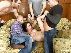 Sexy slut Nikita gets her butt team-fucked by her hot five boyfriends. This babe actually likes being treated as the slut that babe is, from behind and deep in her mouth. With her titties and feet spanked, that babe is screwed so hard by them, one after another. Her constricted butt hole is good, but deepthroating is her specialty!