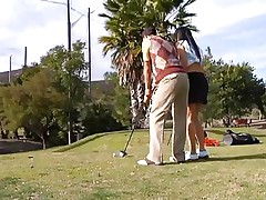 Why train her how to play golf when this sweetheart can play with smth that she's already used with. The sexy brunette milf leaves the golf cross and takes this guy's hard pecker instead. This sweetheart gives him a not many sucks and then goes on top to ride the dude like a fucking whore! See how deep this sweetheart takes it whilst rubbing her clitoris?