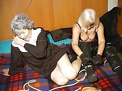 An old nun is about to experience something that she never though it's possible. This blond unties her hands and gives the old bitch some whipping. She then rolls her over whips her some greater amount and begins to undress. This is a classic and things are just about to acquire a lot greater amount interesting, stay with us and watch