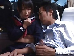 In that crowded bus everybody is tired and minds their own business but this schoolgirl is just shameless and desires some action. She sees the guy and how he takes out his 10-Pounder and then looks at it for a while before putting that hard 10-Pounder in her mouth. The cutie sucks him right there and everybody sees her