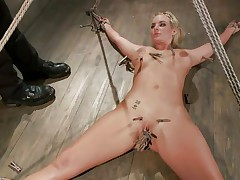 Slutty blonde Marie has her body all tied up and her legs widen on the floor. Her horny executor enjoys touching her wet shaved slit and torturing it at the same time with a lot of laundry pliers. This guy tickles it, but doesn`t let her cum likewise soon. This guy First wants to bring a sex tool in the scene. So hot!
