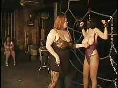 Here's a oldie but goldie bdsm. Mistress Bianca taunts her female sex thrall not only with her large captivating boobs but with her skills too. That playgirl ties Carla's large breasts with rope and squeezed them hard after this babe played with them. Carla will have to obey the will of her mistress because she's fastened hard