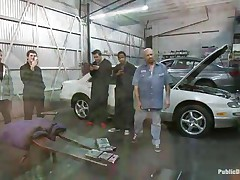 Blonde babe Leya Falcon gets her bazookas and hands tied together in rope bondage by sexy brunette milf. Tommy Pistol puts her on her knees and bonks her mouth roughly, spitting on her fascinating whore face. Then he slams her pink bald pussy against the white car. She enjoys having big white meat inside her vagina.