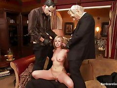 Sexy golden-haired slut Zoey receives fucked hard by five lewd chaps with face masks. This chick is recorded, during the time that her taut holes are getting filled with large hard ramrods by turns. This chick groans with pleasure and craves more and more. This chick opens her face hole to suck it deep. Who will cum first, she or they?