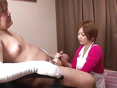 'coz this man has his hands injured and can't masturbate the ravishing nurse Meguru helps him with that problem. This babe takes off her clothes, remains only in that sexy white bra and panties and then begins to take up with the tongue his dick gently. Meguru wants to satisfy him and acquires a of of jizz in return!