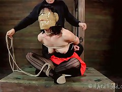 Blindfolded with duct tape and tied up, this brunette milf Elise is receives a rough mouth fuck from her executor. The guy is not joking around and he inserts his penis deep in her throat, showing this floozy what her sensual pink lips are good for. Perhaps some warm jizz on her face will elementary her punishment