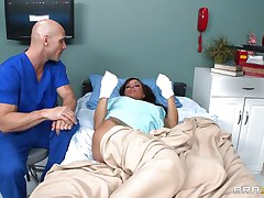 Gia DiMarco is sick. Her nurse Johnny Sins takes care of her by giving her a soapy bath. That guy lathers up her round bra buddies with soap making 'em admirable and clean. This is tit sucking at it's finest. That guy ends up in the tub, too.