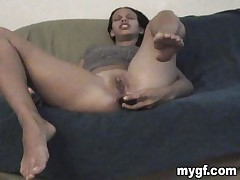 This hawt black dark brown that is masturbating on the sofa is my new girlfriend. That babe permeates her good to take up with the tongue vagina with a large dildo during the time that I am shooting all the action. That babe becomes greater amount and greater amount slutty and she sucks my cock during the time that i am shooting in nigh mode. I love her because she does a great blowjob, do you acquiesce with that?