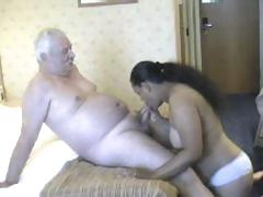 Fat playgirl from India grinding on white old man's meaty cock