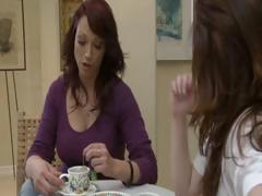 Two lewd brunette MILF's have tea party and take up with the tongue each others pussy
