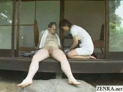 Japanese CFNM countryside dick cleaning service with breasty girls