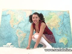 Hot wicked latina masturbating during the time that taking geography test